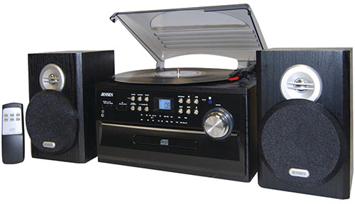 1.Jensen JTA475B 3-Speed Turntable with CD, AM/FM Stereo Radio, Cassette and Remote