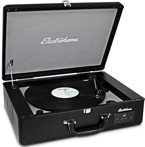 4. Electrohome Archer Vinyl Record Player Classic Turntable Stereo System with Built-in Speakers, USB for MP3s, Headphone Jack, & AUX Input for Smartphones, Tablets, (EANOS300)