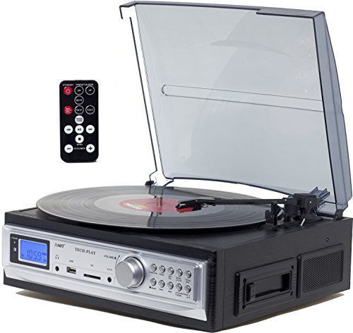 2. TechPlay ODC19 BK, 3-Speed Turntable & Cassette player W/SD USB, MP3 Encoding System and AM/FM Stereo Radio & built-in speakers