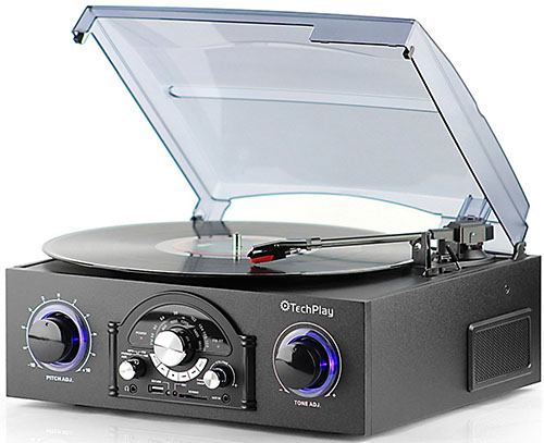 6. TechPlay Turntable with pitch control, AM/FM Radio, SD USB ports, RCA Out Jacks, Headphone Jack, AUX input and Built-in stereo speakers with LED lights