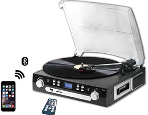 8. DigitNow! M36 Bluetooth Vinyl Turntable, Cassette, Radio Player with USB Port and SD encoding