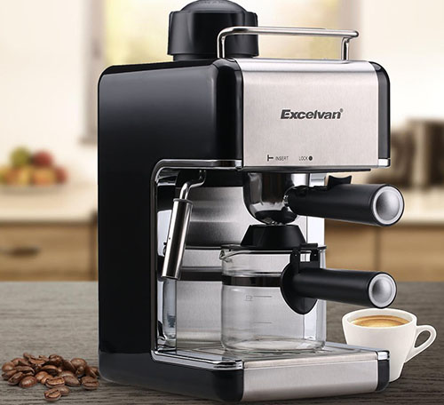 2. EXCELVAN MINI Coffeemaker Stainless Steel Steam Espresso and Cappuccino Maker