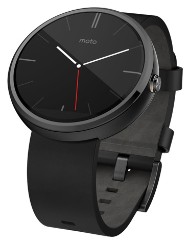 3. Motorola Moto 360 - Black Leather Smart Watch