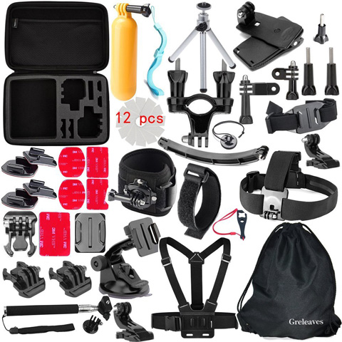 4. Greleaves 50 in 1 Accessories Bundles Kit with Case for Gopro Hero 4 Session