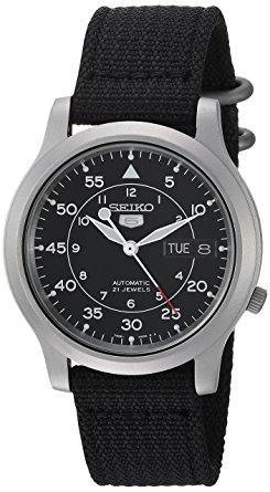 9. Seiko Men's SNK809 Seiko 5 Automatic Stainless Steel Watch with Black Canvas Strap