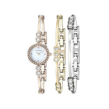 5. Anne Klein Women's Swarovski Crystal Accented Bangle watch and bracelet set