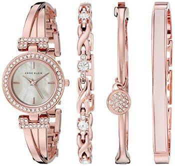 2. Anne Klein Women's Swarovski Crystal Accented Rose Gold Tone Bangle watch and bracelet set