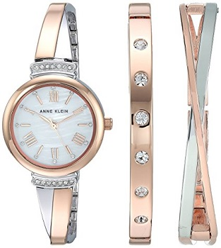 1.Anne Klein Women's AK/2245RTST watch and bangle set