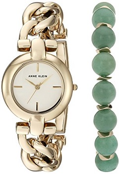 7. Anne Klein Women's watch and Beaded bracelet set