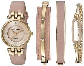 6. Anne Klein Women Diamond Accented and Leather Strap watch and bangle set