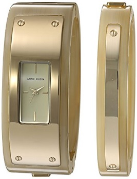 8. Anne Klein Women's Gold Tone watch and bangle set
