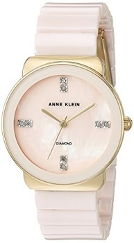 3. Anne Klein Women's Diamond Accented and Ceramic Bracelet Watch