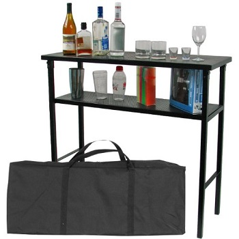 2. Trademark Deluxe Metallic Portable Bar Table with Carrying Case