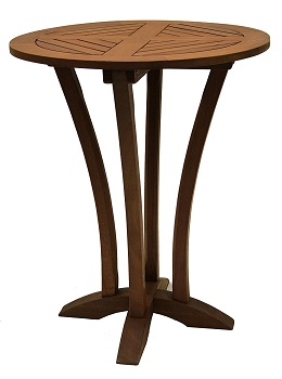 10. Outdoor Interiors Eucalyptus Round Bar Table, 30-Inch Diameter