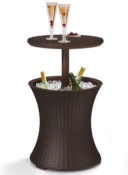 1. Keter Rattan Style Outdoor Cool Patio bar Cooler Table, 7.5-Gal Brown