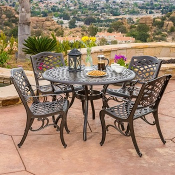 4. Covington Antique Bronze Outdoor Patio Dining Set
