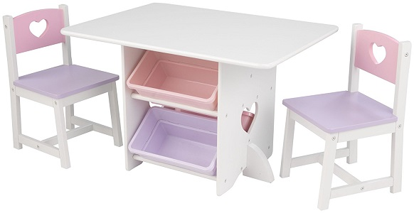 1: KidKraft Heart Chair and Table Set