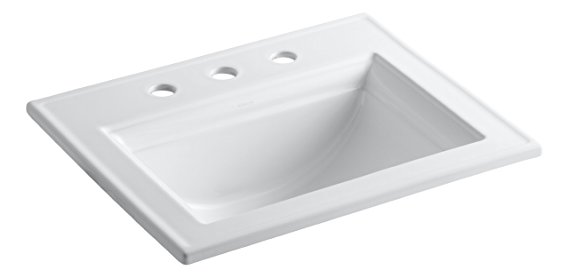 6. KOHLER K-2337-8-0 Memoirs Self-Rimming Bathroom Sink with Stately Design