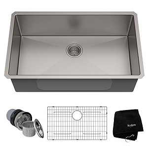 9. KRAUS Standart PRO Undermount Single Bowl Stainless Steel Kitchen Sink