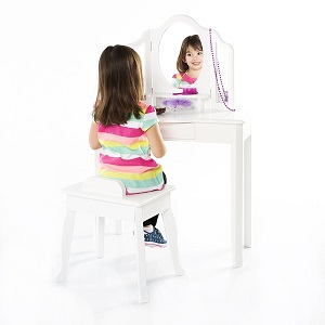 10. Gudecraft Classic White Vanity Table and Stool Set.