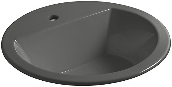8. KOHLER K-2714-1-58 Bryant Round Drop-In Bathroom Sink