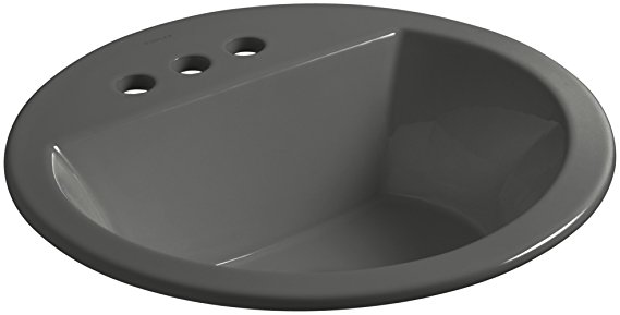 4. KOHLER K-2714-4-58 Bryant Round Drop-In Bathroom Sink with Centerset Faucet Holes