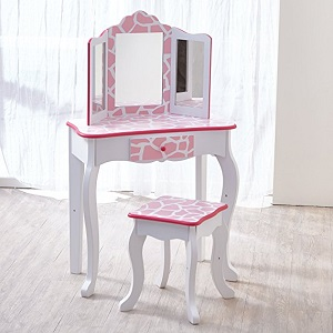 3. Teamson Kids Fashion print Girls vanity table and Stool Set with Mirror.