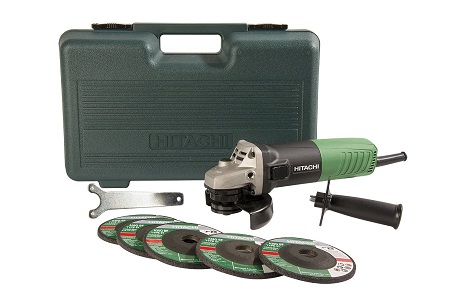 4- Hitachi G12SR4 6.2-Amp 4-1/2-Inch Angle Grinder with 5 Abrasive Wheels