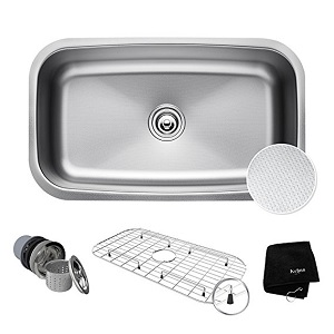 6. Kraus KBU14E Stainless Steel Undermount Single Bowl Sink