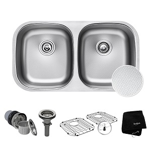 4. Kraus Outlast Stainless Steel Undermount 50/50 Double Bowl Sink