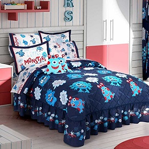 4. Best Seller Little Monsters Kids Boys Bedspread.