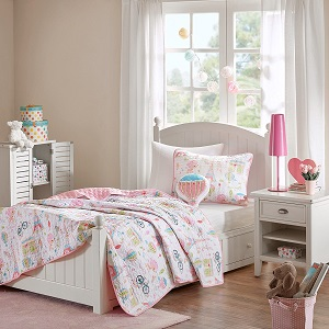 9. 8 Piece Girls Pink White I Love Paris Coverlet Full Set.