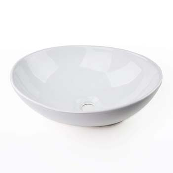 3. Egg Shape Ceramic Bathroom Vessel Sink Basin Faucet Without Overflow