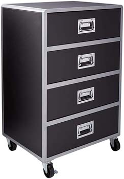 4. Coaster Home Furnishings LeClair Modern Storage Chest with Casters - Black Faux Leather/Silver