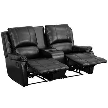 10. Flash Furniture Allure Series 2-Seat Reclining Pillow Back Black Leather Theater Seating Unit