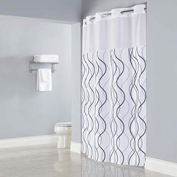 7. HOOKLESS WAVES SHEER Polyester Shower Curtain