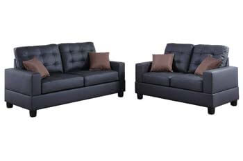 3. Poundex F7855 Bobkona Aria Faux Leather 2 Piece Sofa and Loveseat Set