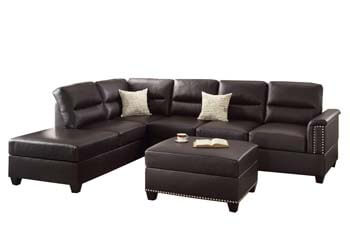 4. Poundex F7609 Bobkona Toffy Bonded Leather Left or Right Hand Chaise
