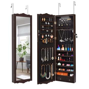 3. LANGRIA Full-Length Lockable Jewelry Cabinet Armoire