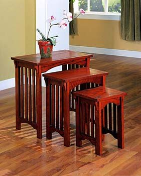 2. 3-Piece Nesting Table Set Warm Brown