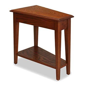 1. Leick Recliner Wedge End Table, Medium Oak