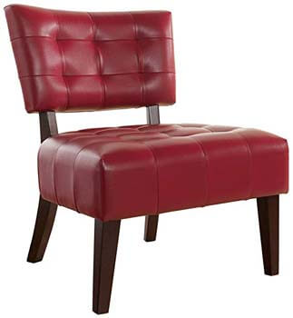 3. Roundhill Furniture Blended Leather Tufted Accent Chair