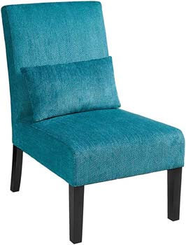 6. Roundhill Furniture Armless Chair – Pisano Teal Blue