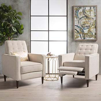 4. GDFStudio Marston Mid Century Modern Fabric Recliner- set of 2