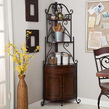 5. Belham Living Portica Wrought Iron and Wood Corner Rack