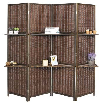 2. MyGift Deluxe Woven Brown Bamboo Room Divider
