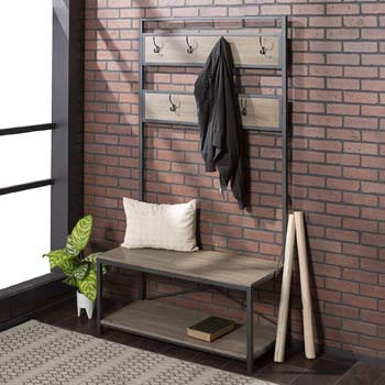 3. WE Furniture Industrial Metal and Wood Hall Tree in Driftwood.