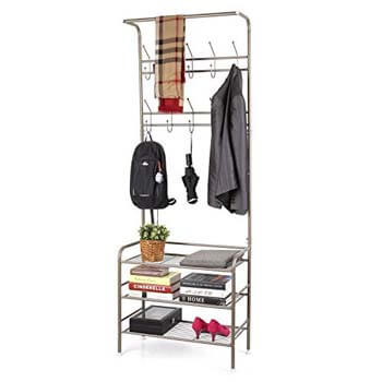 4. HOMFA Metal Entryway Coat Shoe Rack