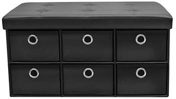 2. Sorbus Storage Ottoman Bench with Drawers – XL Drawer Bench