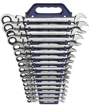 10. GearWrench 9902D 16 Piece Flex-Head Combination Ratcheting Wrench Set Metric
